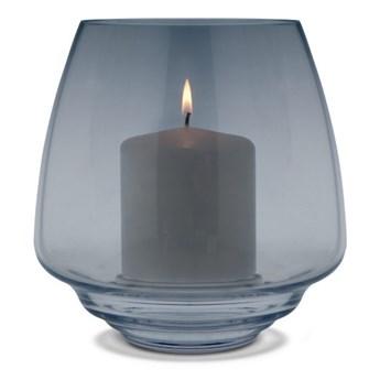 szklany świecznik Flow, Ø18,5 cm niebieski, Holmegaard