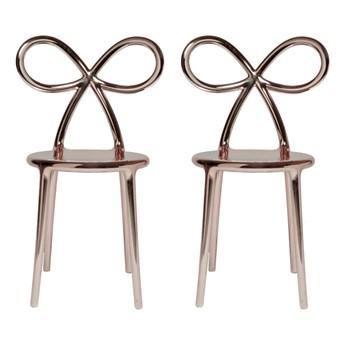 komplet krzeseł Ribbon, 2 szt. metalowe różowo-złote, QeeBoo