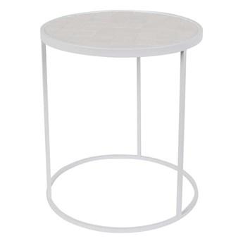 Stolik pomocniczy Glazed wykończony ceramiką, biały, Zuiver