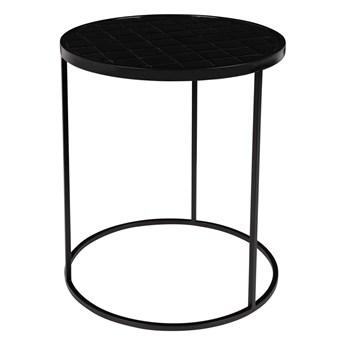 Stolik pomocniczy Glazed wykończony ceramiką, czarny, Zuiver