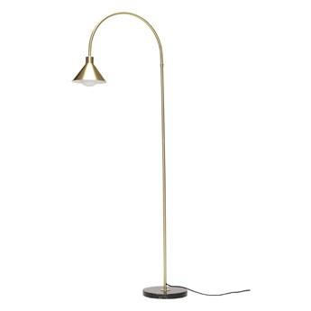 Złota lampa podłogowa z marmurową podstawą, Hübsch