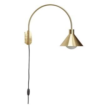 Mosiężna lampa ścienna z zaokrąglonym ramieniem, Hübsch