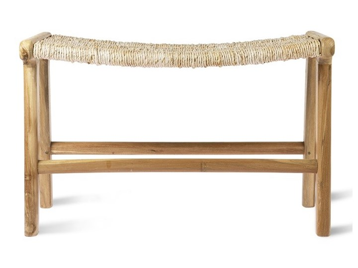 Ławka z drewna tekowego i abaki, naturalny, HK Living Kategoria Ławki do salonu Styl Rustykalny