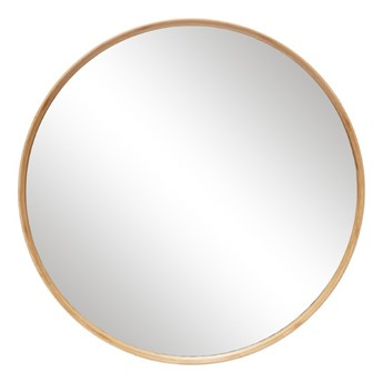 Okrągłe lustro Ø80 cm, bambusowa rama, Hübsch