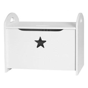 Drewniana skrzynia na zabawki z gwiazdką, biały, Kids Concept