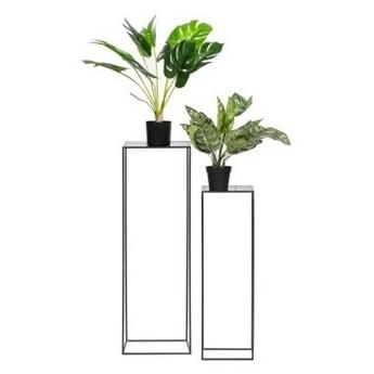 Zestaw dwóch czarnych metalowych stołów na rośliny Zeger, Woood
