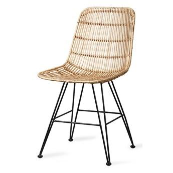 Rattanowe krzesło do jadalni naturalne, HK Living