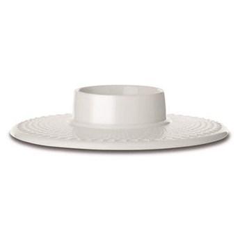 Biały świecznik na świecę blokową Rhombe, Lyngby Porcelain