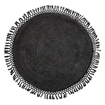 Grafitowy dywan z czarnymi z frędzlami, Bloomingville