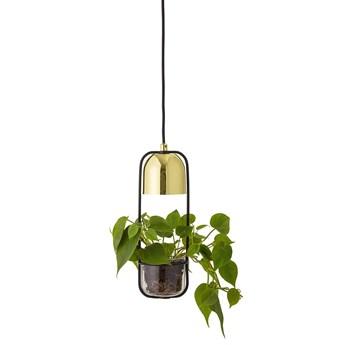 Lampa z kwietnikiem, podłużna, złota