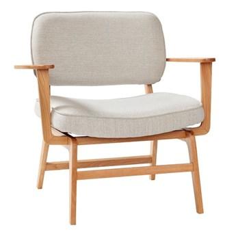 Krzesło lounge z mikrofibrą, dąb, szare, Hübsch