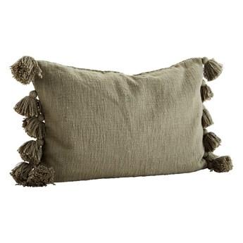 Poszewka na poduszkę z frędzlami, oliwkowa, Madam Stoltz