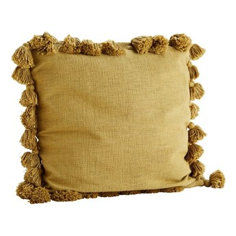 Poszewka na poduszkę z frędzlami, musztardowa, Madam Stoltz