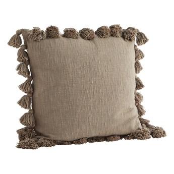Poszewka na poduszkę z frędzlami, szara, Madam Stoltz