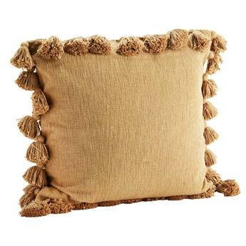 Poszewka na poduszkę z frędzlami, jasny brązowy, Madam Stoltz