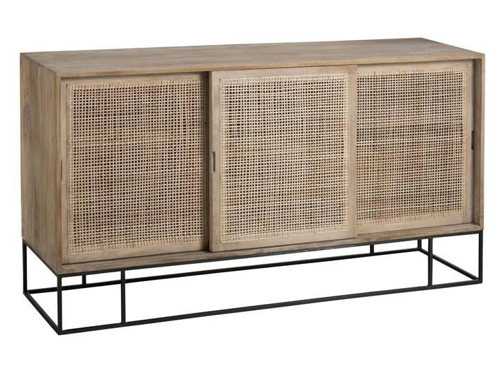 Naturalna szafka LEA z 3 przesuwnymi drzwiami, J-line Metal Drewno Pomieszczenie Salon