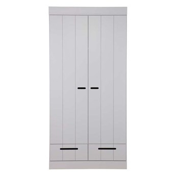 Szafa 2-drzwiowa szara Connect z szufladami, Woood