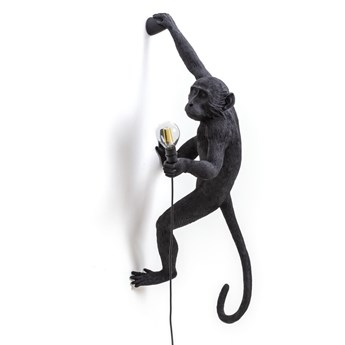 Lampa ścienna Monkey Hanging Right, czarny, Seletti