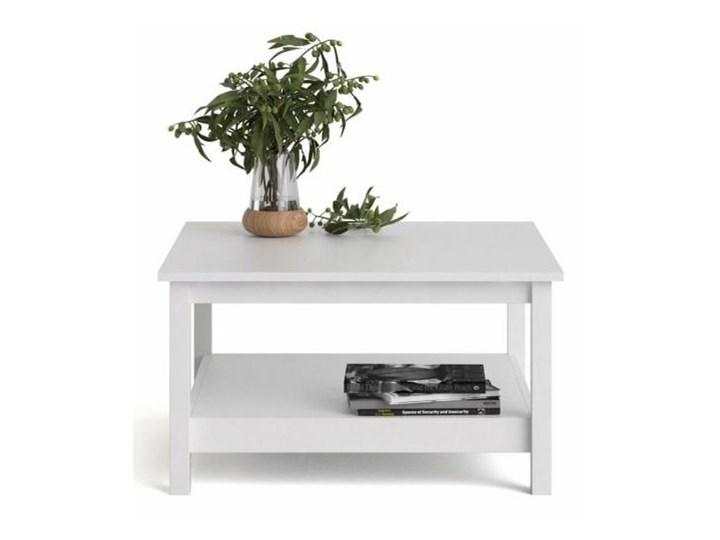 Kwadratowy stolik kawowy z półką Madrid biały mat Szkło Wysokość 81 cm Wysokość 45 cm Funkcje Z półkami