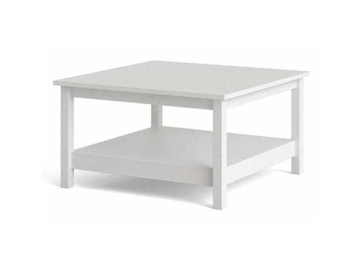 Kwadratowy stolik kawowy z półką Madrid biały mat Wysokość 45 cm Szkło Wysokość 81 cm Funkcje Z półkami