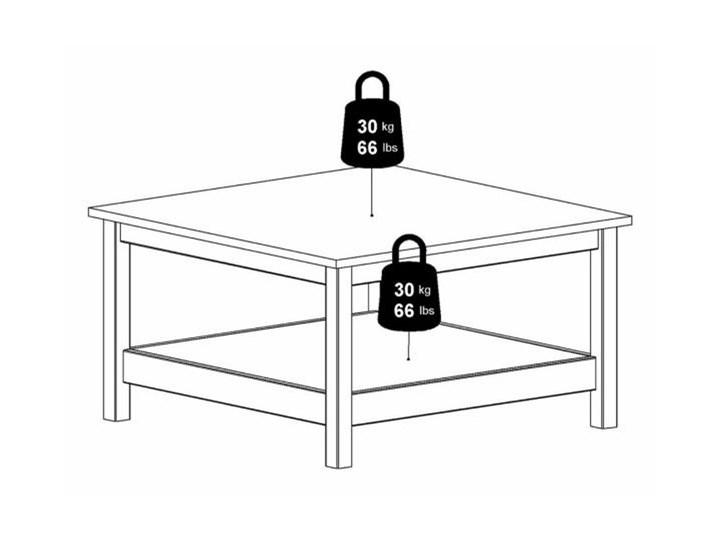 Kwadratowy stolik kawowy z półką Madrid biały mat Szkło Wysokość 45 cm Wysokość 81 cm Rozmiar blatu 81x81 cm