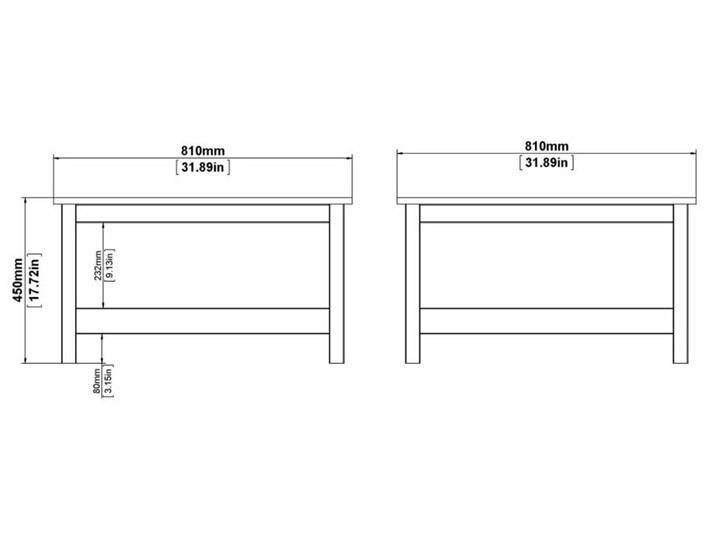 Kwadratowy stolik kawowy z półką Madrid biały mat Wysokość 81 cm Wysokość 45 cm Szkło Funkcje Z półkami