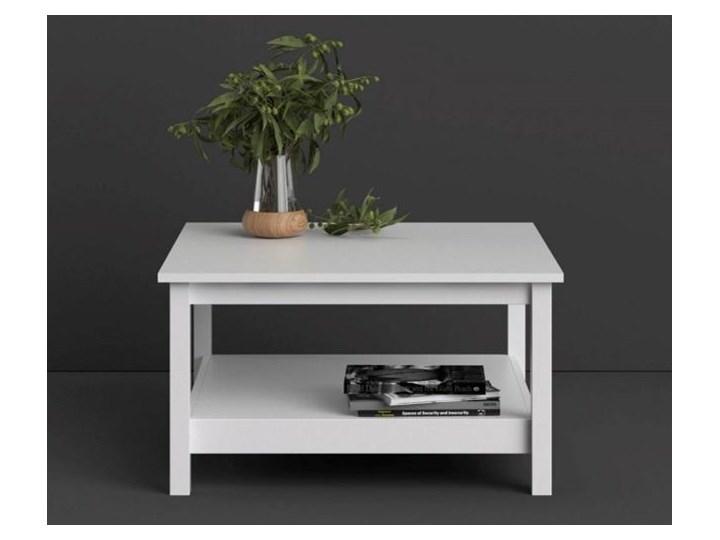 Kwadratowy stolik kawowy z półką Madrid biały mat Szkło Rozmiar blatu 81x81 cm Wysokość 45 cm Wysokość 81 cm Styl Minimalistyczny