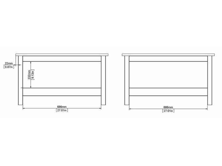 Kwadratowy stolik kawowy z półką Madrid biały mat Wysokość 45 cm Wysokość 81 cm Szkło Rodzaj nóg Kółka Styl Prowansalski