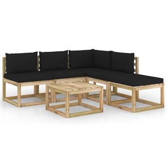 vidaXL 6-cz. zestaw wypoczynkowy do ogrodu, z czarnymi poduszkami