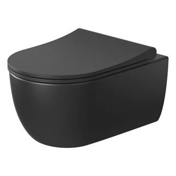 Miska wisząca MOLIS MATT BLACK + deska SLIM