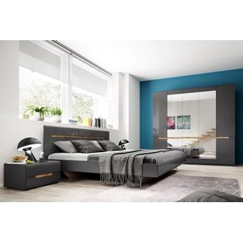 Sypialnia HEKTOR I : Powierzchnia spania łóżka - 160x200cm, Wybierz kolor - antracyt połysk-Appenzeller Fichte