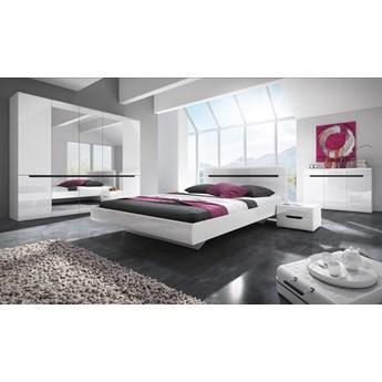 Sypialnia HEKTOR II : Powierzchnia spania łóżka - 180x200cm, Wybierz kolor - biały połysk + czarny