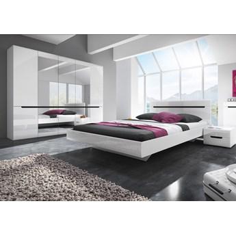 Sypialnia HEKTOR I : Powierzchnia spania łóżka - 180x200cm, Wybierz kolor - biały połysk + czarny
