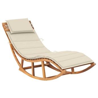 Kremowy jednoosobowy drewniany leżak ogrodowy - Afis 3X