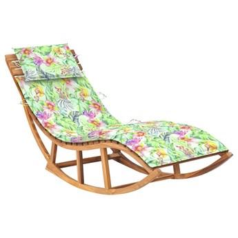 Bujany leżak ogrodowy w kwiaty z litego drewna - Afis 3X