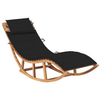 Czarny bujany leżak ogrodowy z litego drewna - Afis 3X