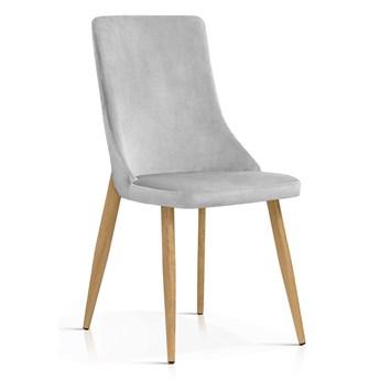 Krzesło Elza jasny szary aksamit / dąb