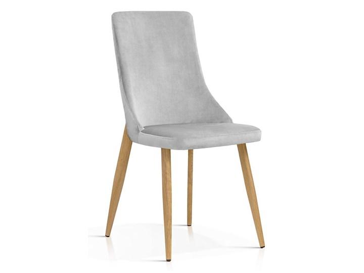 Krzesło Elza jasny szary aksamit / dąb Metal Tapicerowane Welur Tkanina Drewno Styl Industrialny