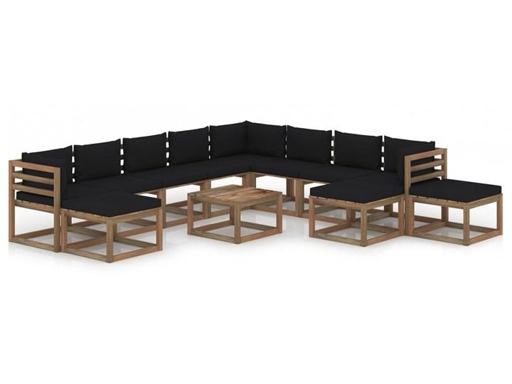 vidaXL 12-cz. zestaw wypoczynkowy do ogrodu, z poduszkami, czarny