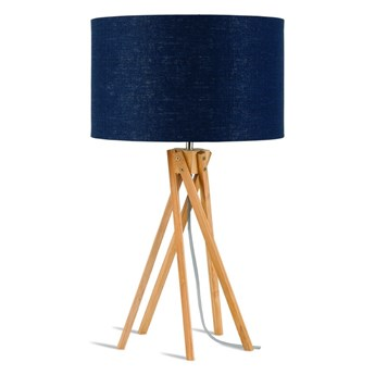 Lampa stołowa Kilimanjaro, bambus abażur granatowy, Good and Mojo