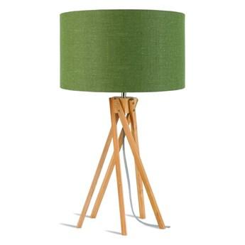 Lampa stołowa Kilimanjaro, bambus abażur zielony, Good and Mojo