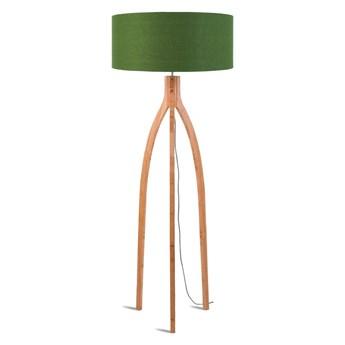Lampa podłogowa Annapurna, bambus abażur zielony, Good and Mojo