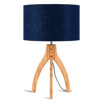 Lampa stołowa Annapurna, bambus abażur granatowy, Good and Mojo
