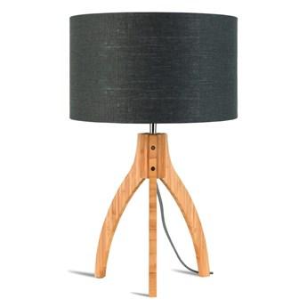 Lampa stołowa Annapurna, bambus abażur ciemnoszary, Good and Mojo