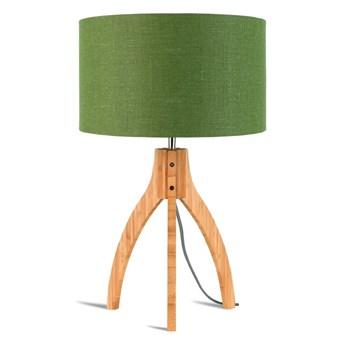 Lampa stołowa Annapurna, bambus abażur zielony, Good and Mojo