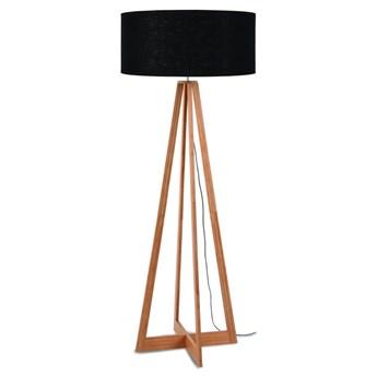 Lampa podłogowa Everest, bambus abażur czarny, Good and Mojo
