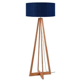Lampa podłogowa Everest, bambus abażur granatowy, Good and Mojo