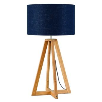 Lampa stołowa Everest, bambus abażur granatowy, Good and Mojo