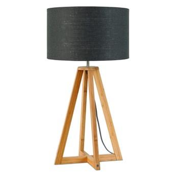 Lampa stołowa Everest, bambus abażur ciemnoszary, Good and Mojo