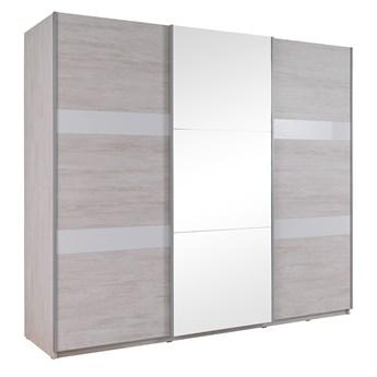Szafa 250 D-13 DENVER z lustrem : Dodaj oświetlenie: - ---, Wybierz kolor - dąb biały + biały połysk